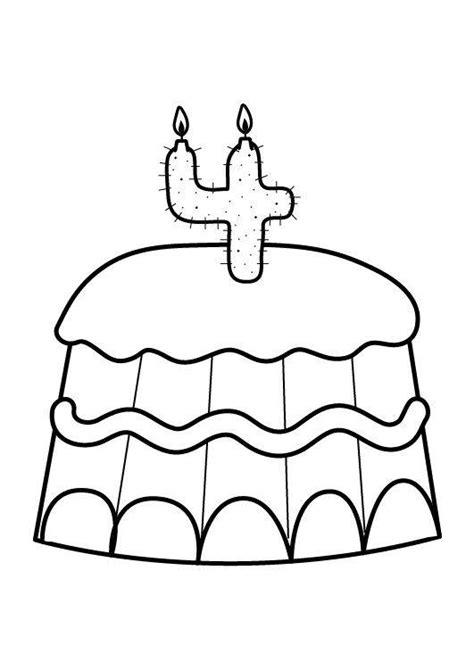 malvorlagen kuchen kostenlose malvorlage geburtstag kuchen zum vierten