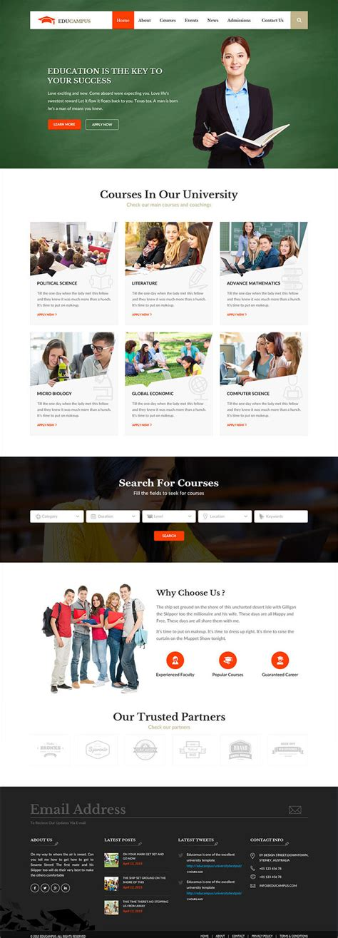 Bootstrap Templates For College | education bootstrap templates free premium themes