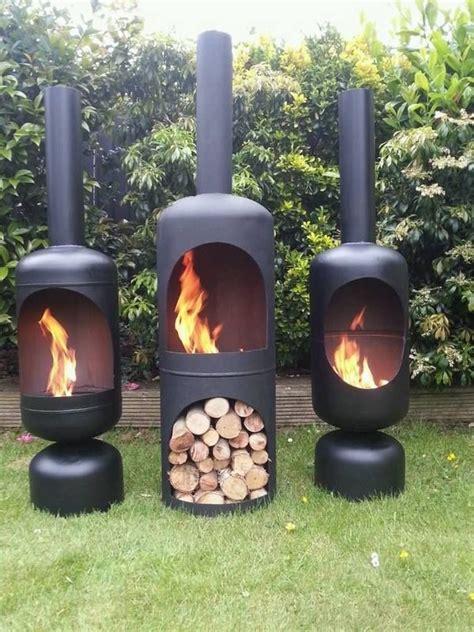 wood burning iron chiminea garden fireplace ideas