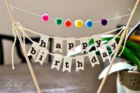 Diy Cake Happy Birthday Cake diy birthday cake banner with pom poms