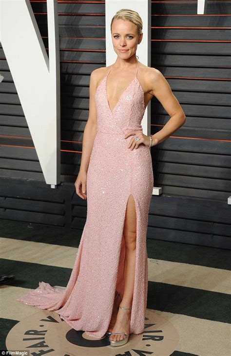 Dress Irina Baby Pink mcadams changes into chest baring pink gown at
