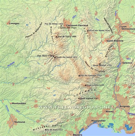 physical map of central europe massif central physical map