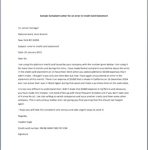 Credit Card Machine Letter Format Sle Complaint Letter To Bank For Credit Card Compudocs Us