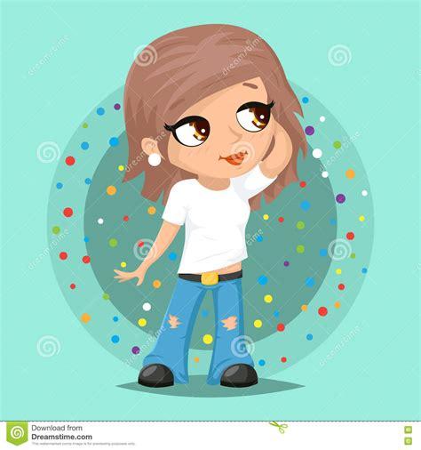 design poster cartoon stylish modern trendy fashionable girl character icon on