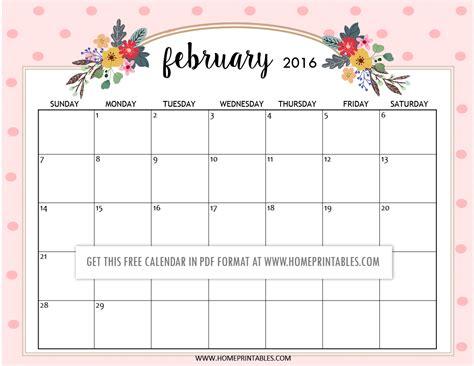 printable planner february 2016 cute free printable 2016 calendars home printables