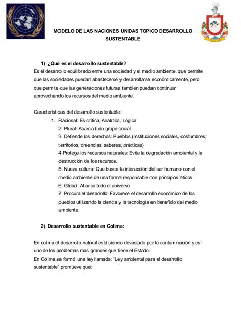Modelo Curriculum Naciones Unidas Postura Oficial Modelo De La Onu
