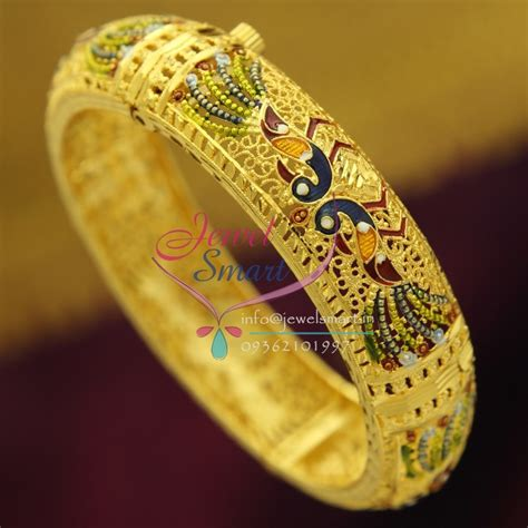Handmade Bangles Designs - b2416 gold plated delicate peacock intricate meena