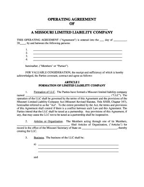 Limited Liability Company Operating Agreement Forms And Templates Fillable Printable Sles Missouri Llc Operating Agreement Template