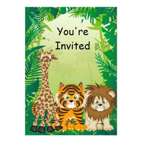 jungle theme birthday invitations 5 quot x 7 quot invitation card