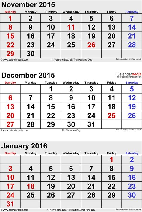 December And January Calendar January 2015 Calendars For Word Excel Pdf