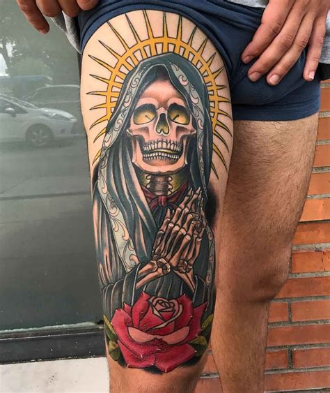 thigh tattoo santa muerte lop pinterest santa muerte