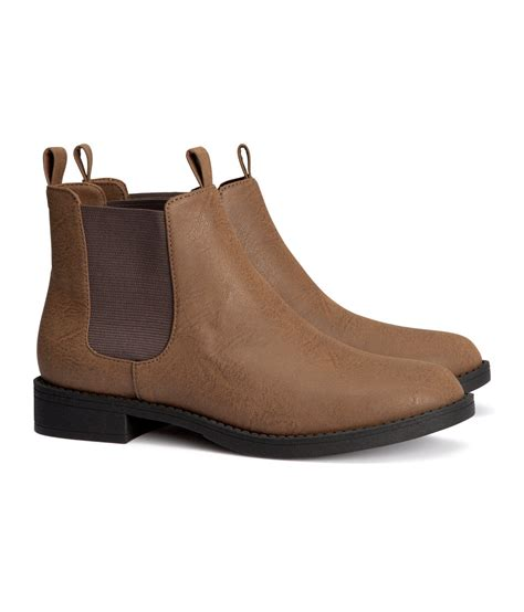 brown chelsea boots h m chelsea boots in brown lyst