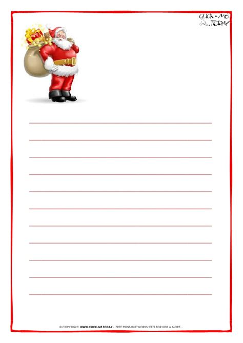 Printable Paper From Santa | printable letter to santa claus paper with lines santa