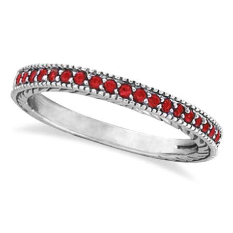 Ruby 5 25ct ruby stackable ring band milgrain edges 14k white gold 0