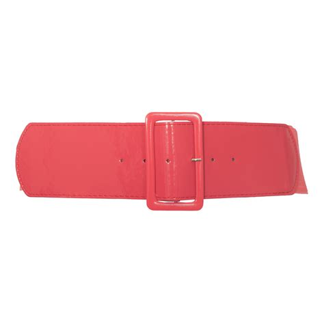 s wide patent leather fashion belt coral evogues