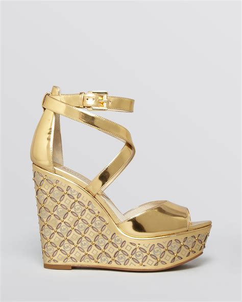 michael michael kors open toe platform wedge sandals