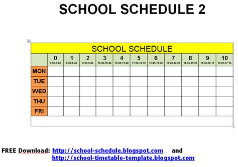 Schedule For School Printable Template School Schedule 2 School Schedule Maker Template