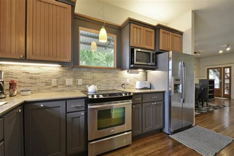 two toned kitchen cabinet trend photos hgtv