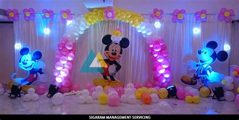 birthday decor at home mickey mouse themed birthday decoration le royal park