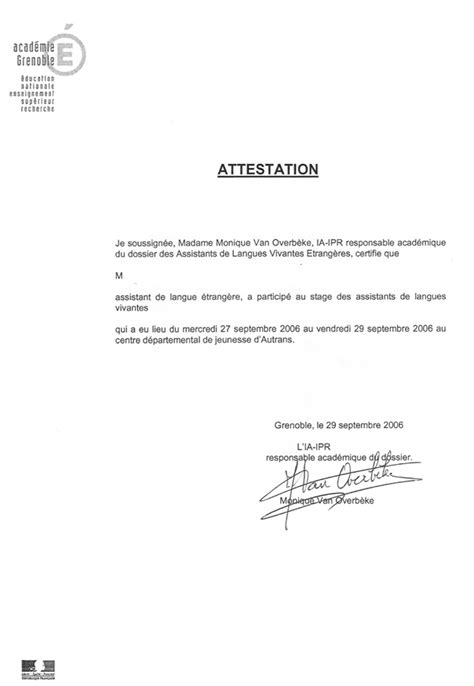 Attestation Letter For Student exemple d attestation de stage word