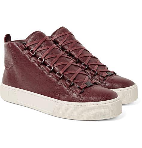 brown balenciaga sneakers balenciaga arena grain leather high top sneaker in