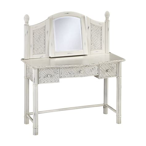 shop home styles marco island rubbed white makeup vanity