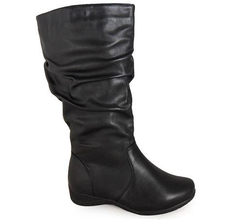 womens comfort durable wide mid calf flat low heel