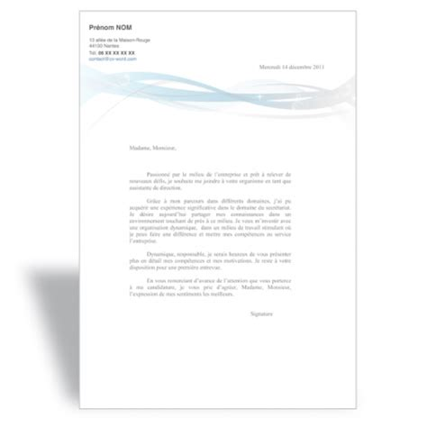 Exemple De Lettre De Motivation Gratuite Secrétaire Administrative T 233 L 233 Charger Mod 232 Le Cv Word Original Exemple Curriculum