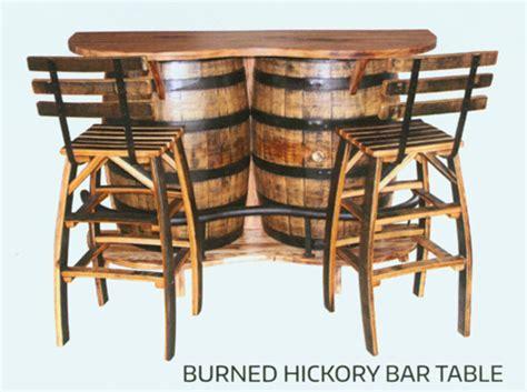 amish whiskey barrel table burned hickory bar table