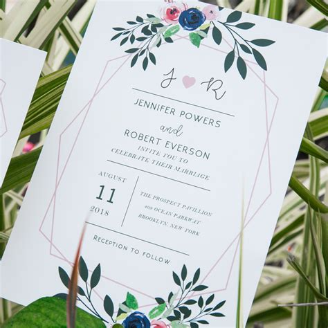 modern geometric blush pink floral wedding invites ewi425 as low as 0 94 laser cut wedding