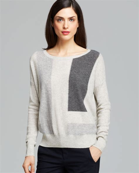 lyst vince sweater color block in white