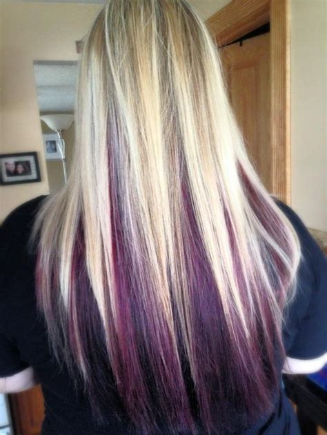 purple highlights in platinum blonde hair straight hair extensions vpfashion of purple and blonde