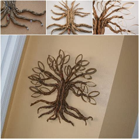 Arts And Crafts Ideas With Toilet Paper Rolls - diy toilet paper roll twisted oak tree wall craft