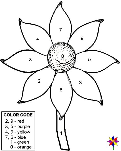 Color by number flower coloring pages quality pre made math worksheets