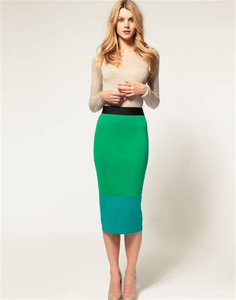 asos collection midi pencil skirt in color block in green