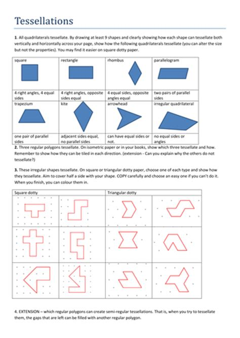 tessellation worksheets tessellations worksheet by tristanjones teaching