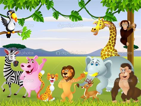 imagenes de animales de safari dibujos animados de animales graciosos safari ilustraci n