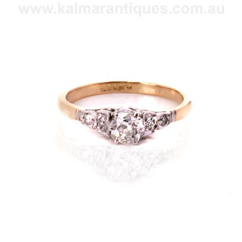 deco rings australia deco engagement ring set with a mine cut