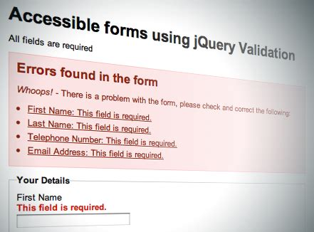 jquery validation pattern message accessible forms using jquery s validation plug in