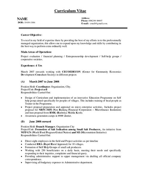 Resume Career Objective Management Resume Format Ngo Resume Ixiplay Free Resume Sles