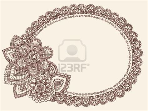 paisley pattern photo frame hand drawn lace doilie henna mehndi paisley flower doodle