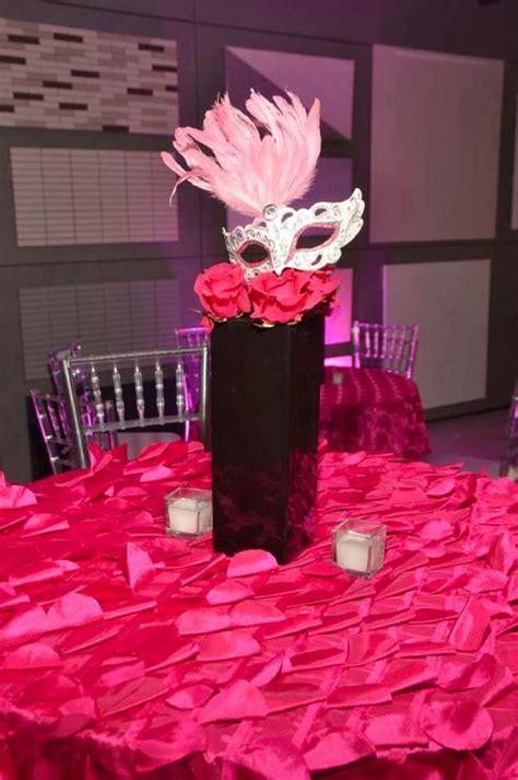 pretty pink and black amazing masquerade centerpiece