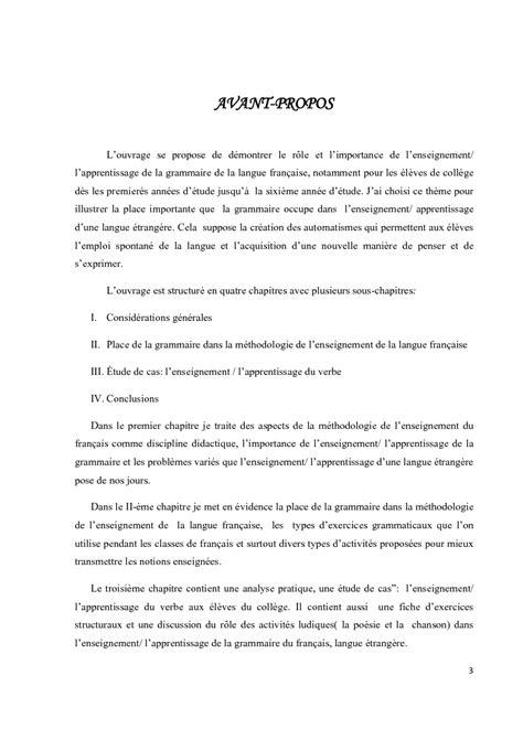 thesis abstract francais grammaire et enseignement du francais langue etrangere au