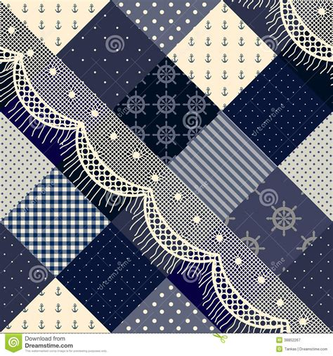 Blue Patchwork - blue patchwork with lace stock vector image of wallpaper