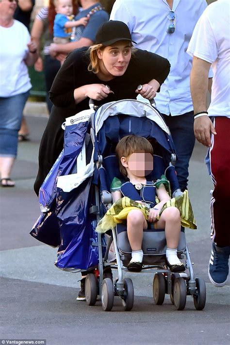 Disney Boy Plain Black adele shops at disneyland with partner simon konecki and