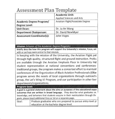 airline business plan template assessment plan template 7 free sles exles format