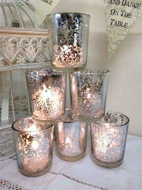 set   mercury glass silver tea light holder candle