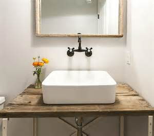 powder room vanities and sinks barn wood powder room vanity with vessel sink vintage