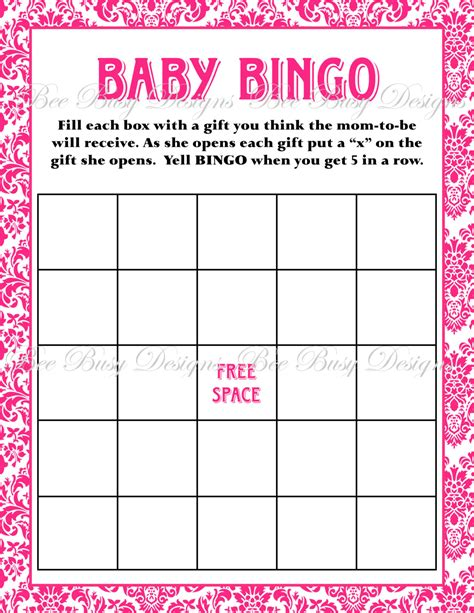 printable hot pink damask baby shower bingo game bee