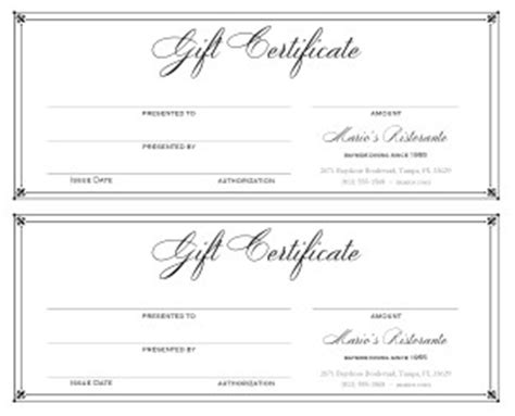 Restaurant Gift Card Template Free by Dining Gift Certificate 2up Marketing Archive